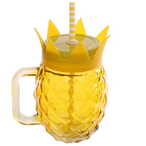 Puckator JAR30 Bocal Ananas avec Paille et Couvercle métallique Jaune 11 x 9 x 14 cm