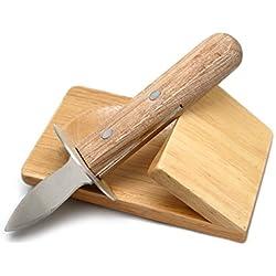 NERTHUS FIH 264 - Cuchillo para Ostras de Acero Inoxidable con base de madera