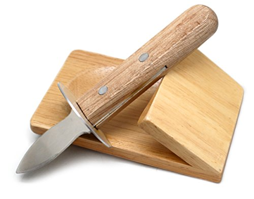 Nerthus fih 264 oyster coltello con base, legno, acciaio inossidabile, wood, 8.5 x 19.5 x 7.5 cm, 2 pacco