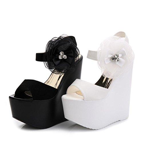 Heart&M Donne Estate solido di colore Decor Flower 16CM Tacchi alti della piattaforma peep-toe Dress cunei sandalo Black