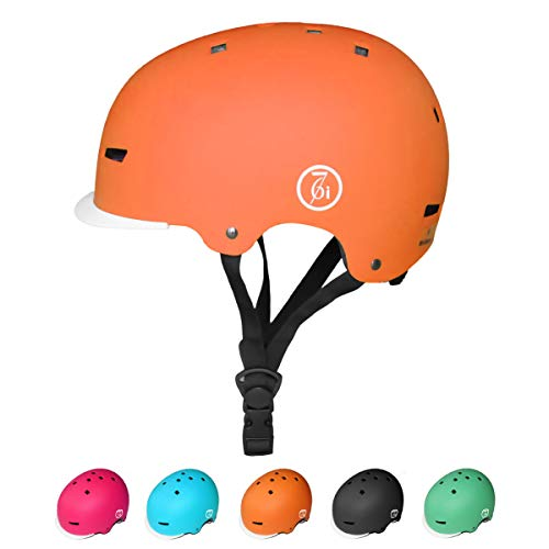KORIMEFA Kinder Skateboard Helm Kind Fahrrad Schutzhelm 3-13 Jahre alt Jungen und Mädchen Kinder Verstellbarer Helm BMX Reiten Roller Inline Skating (Orange, S) (Skating Helm)