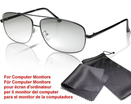 3D passive aviator glasses black metal for computer monitors / TFT – Circularly polarized - With pouch and cleaning cloth - Compatible with LG Cinema 3D MONITORS (no TV!) please note the compatibility list