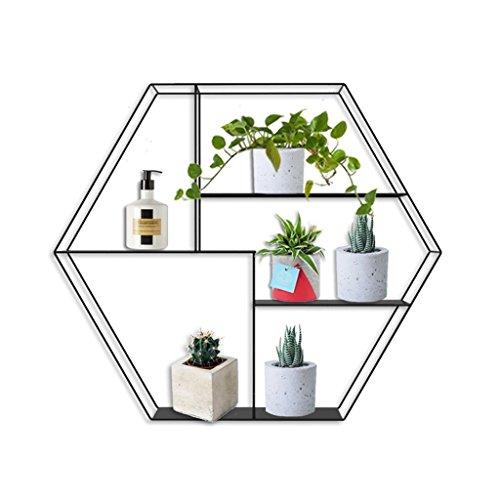 Hexagon Wandregal Metall Eisen für Bar Wohnzimmer | LOFT Wandbehang Cube Regal für Schlafzimmer als Bücherregal Lagerregal | Schwebender Einheits-Rahmen als Wand-Dekorations-Entwurfs-Weinlese-Industriestil ( Farbe : Schwarz )
