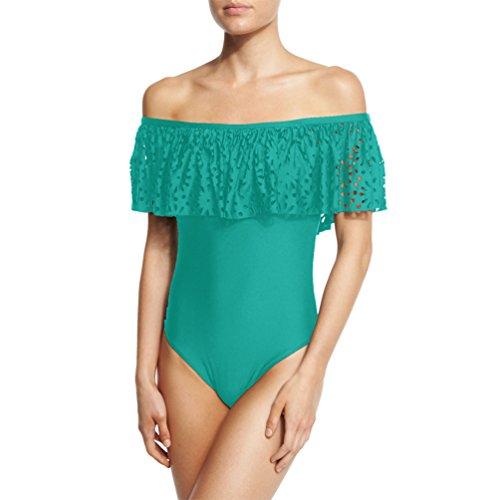 ZhiYuanAN Donne Swimwear Off Shoulder Fiori Increspato Casual Spiaggia Bodysuit Costume Da Bagno Sexy Push Up Bikini Lago Verde