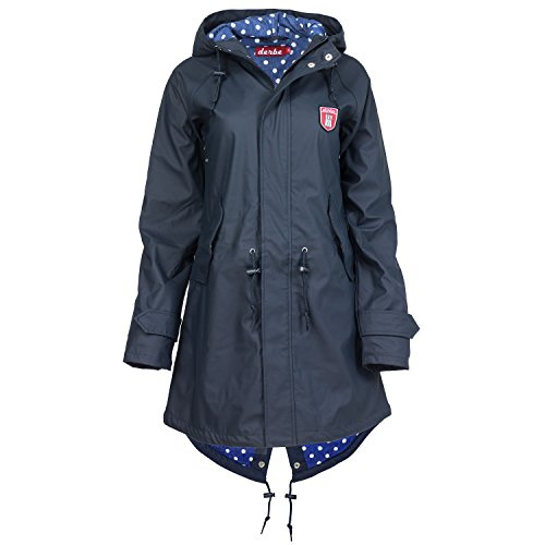 Derbe Damen Travel Friese Regenjacke Dots Blau Navy Regenmantel