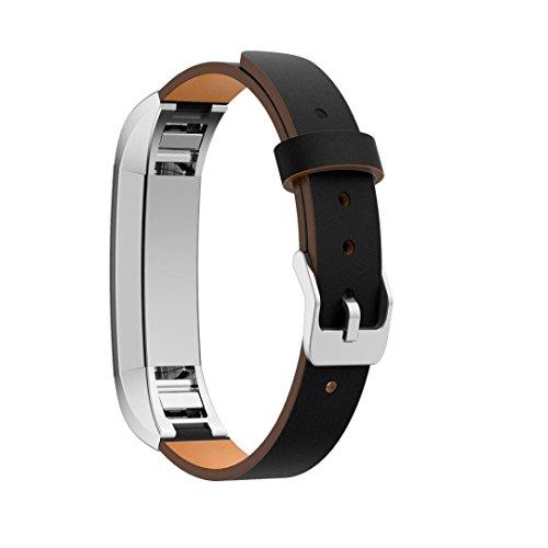 squarex Exquisite Ersatz Luxus Leder-Band Strap Armband + Protector Film für Fitbit Alta HR Smart Watch, Herren, Schwarz, AS Show (Für Leder Watch Protector Band)
