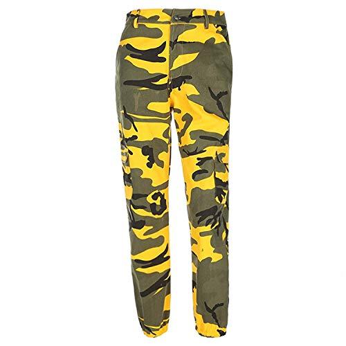 ORANDESIGNE Damen Camouflage Hose Mädchen Hip Hop Jogger Trainingshose Casual Sport Camo Cargo Hosen Gelb EU Medium -