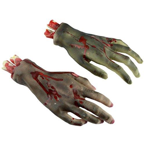 HKFV 1 Paar Halloween Horror Props Blutige Big Size Gebrochene Hände Körperteile Abgetrennte Gliedmaßen Hand Abgehackte Hand Haunted House (House Haunted Happy Halloween)