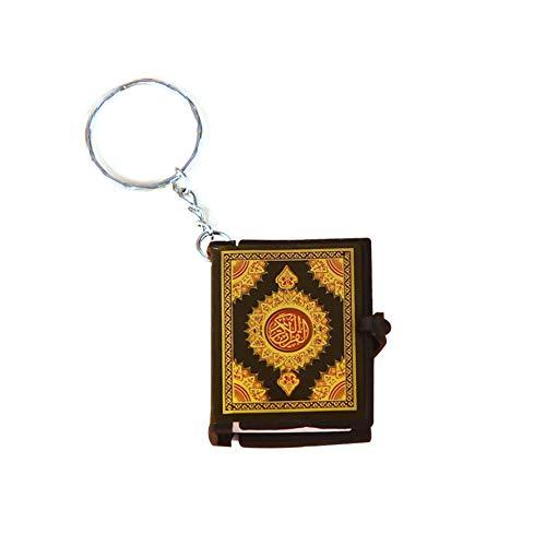 Huangzhiping 1 Stück Mini Islam Arche Koran Buch echtes Papier arabisch der Koran Schlüsselanhänger Muslim Schlüsselanhänger Schmuck, Papier, Gold