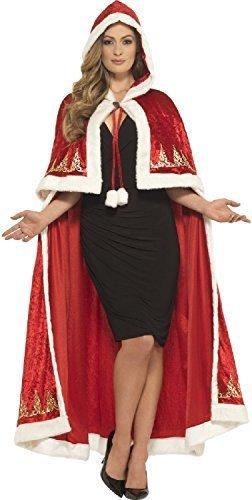 Fancy Me Damen Deluxe lang roter Samt Fräulein Claus Weihnachten Weihnachtsmann Weihnachten festlich Noel Mantel Umhang Kostüm