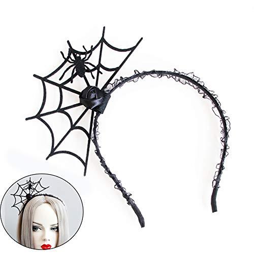 Ndier 1Stk Halloween Stirnband Spinnen Netz Stirnband Spinnen Geist Haar Band Cosplay Teufel Stirnband Halloween Weihnachten Thema Partei Dekoration Geschenk für Mädchen und Frauen Kinder Schmuck