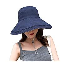 Women Girls Reversible Bucket Hat Uv Sun Protection Wide Brim Summer Beach Hat Packable (Navy Blue-beige)