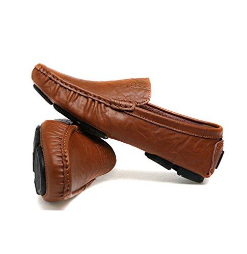 Dooxi Hommes Mode Respirant Mocassins Conduite Chaussure Décontractée Entreprise Plat Loafers Chaussures Marron foncé