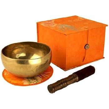 Tibetische Klangschale in Geschenk-Box, inklusiv orangener Unterlage sowie einem Holz-/ Lederklöppel -5017-L-