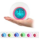 Fousamax Réveil pour Enfants, Sleep Trainer, réveil de Chevet numérique pour Enfant, 7 Couleurs changeantes, température intérieure et Sommeil