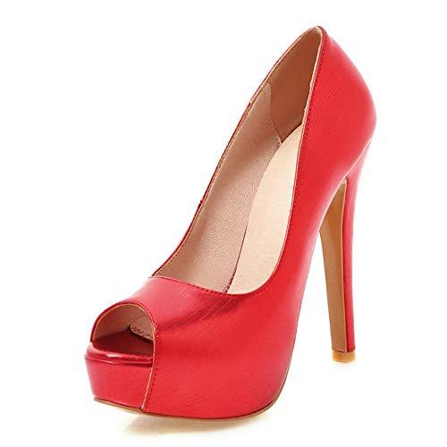 TXHLKD Peep Toe Dünne High Heels Pumps Frau Plateau Pumps Frau Hochzeit Schuhe Frauen Plus Größe 33-48 11 Rot