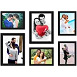 Paper Plane Design Decor Wood Wall Photo Frame (Black,Set Of 6 Wall Photo Frames)