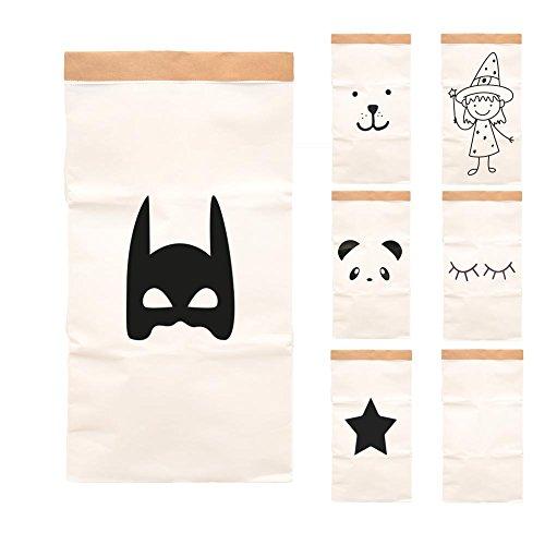 Paper-Bags zur Aufbewahrung von Spielzeug, Wäsche und weiteren Krimskrams - Beutel / Sack aus Papier - Papiertasche Motiv Batman