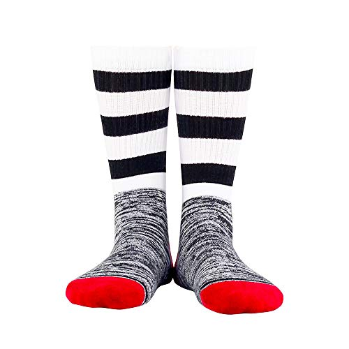 JSGJWWZZ Men's Socks In The Tube Street Japan and South Korea Socks Striped Thickening Terry Socks Sweat-Absorbent Breathable Men and Women Socks ()