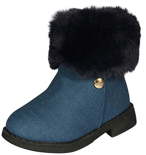 Nicole Miller New York Toddler Girls Faux Fur Trim Ankle Boot