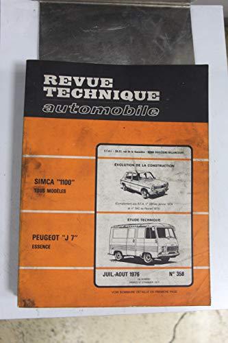 Revues techniques juillet/août 1976 n°358 Peugeot J7 essence