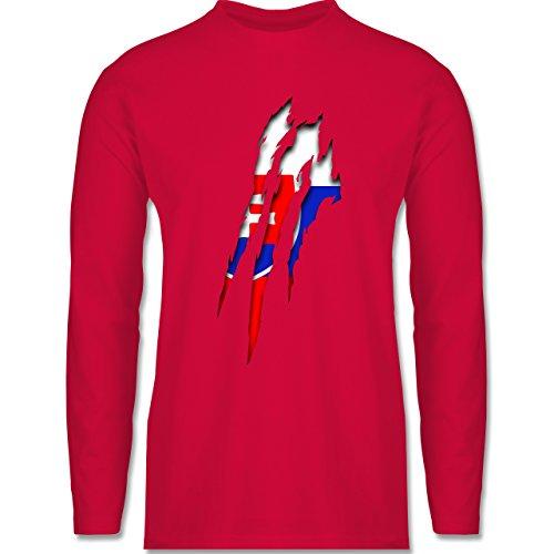 Länder - Slowakei Krallenspuren - Longsleeve / langärmeliges T-Shirt für Herren Rot