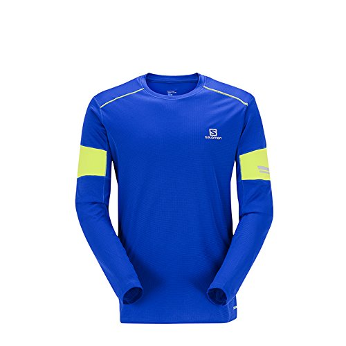 Salomon Agile LS Tee M Langarm Shirt, Herren M Gelb (Surf The Web/Acid Lime) (Surf-gelb T-shirt)