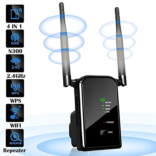 H&L WLAN Router Repeater Verstärker mit Antenna, Network Wi-fi Signal Range Router Extender Verstaerker 300 Mbits 2,4 GHz, 4 IN 1 Wireless Access Point 2 Ethernet Port, Router/Repeater/AP/Client Modus Iphone-signal-repeater