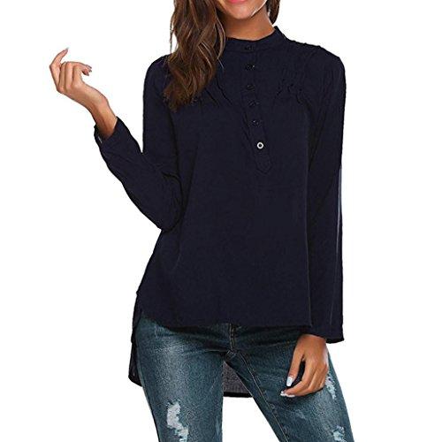 TIFIY Dame Mode V-Ausschnitt Langarm Bluse beiläufige Lose Shirts Sommer Tops