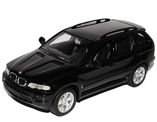 Unbekannt B-M-W X5 E53 SUV Schwarz 1999-2006 1/24 Welly Modell Auto mit individiuellem Wunschkennzeichen (Modellauto Bmw 2002)