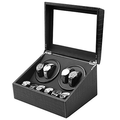 Watch winder,Scatole carica Orologio Automatico Display automatico per orologio avvolgitore 4 + 6 Espositore in pelle