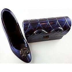 08#061318 Schokoladen Handtasche (T32) mit Schuh (S32) Muttertag, blau metallic dunkle Schokolade, Stöckelschuh, High Heels, Geschenk, NEU