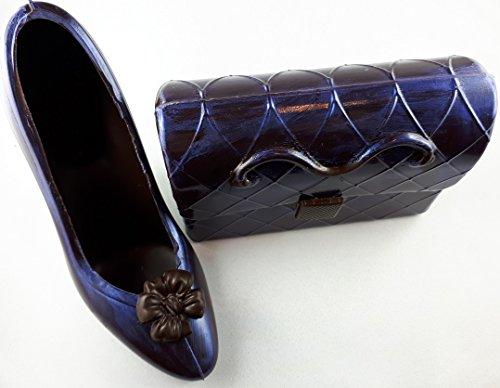 03#102718 Schokoladen Handtasche (T32) mit Schuh (S32) Valentinstag, Muttertag, blau metallic dunkle Schokolade, Stöckelschuh, High Heels, Geschenk,