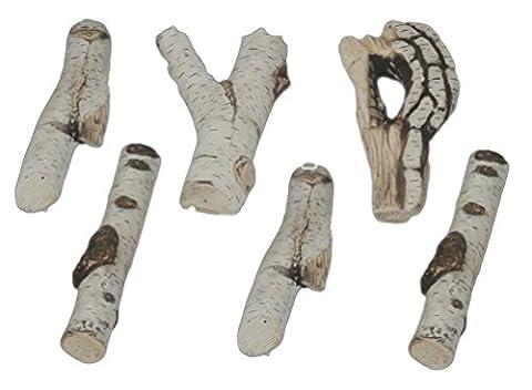 MUENKEL Design Ceramic Wood Decorative Wood Birch: 6Pieces