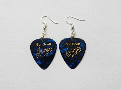 BON SCOTT AC/DC ACDC Gitarre Plektrum signatur gold stempel OHRRINGE Gitarren Signatur