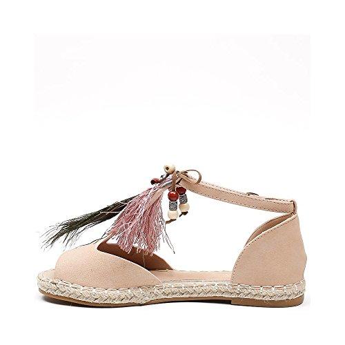244d31af1912e ... Ideal Shoes Sandales Plates avec Franges et Bijoux Décoratifs Gialina  Rose ...
