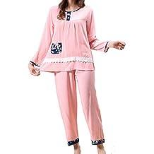 HUIFANG Conjunto De Pijamas De Algodón Cuello Redondo De Encaje Confort De Gran Tamaño Servicio A