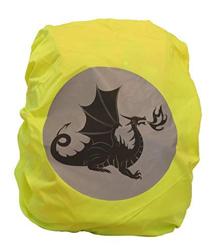 EANAGO Premium Schulranzen/Rucksack Regenschutz/Regenüberzug, ohne Nähte, 100% wasserdicht, mit Sicherheits-Reflektionsbild Drache