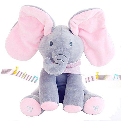 he Musik Verstecken Elefanten Plüschtiere Singen Baby Kuschel Puppe, Musik Tiere & Gefüllte Elefanten (Rosa Grau) (Tier-puppen)