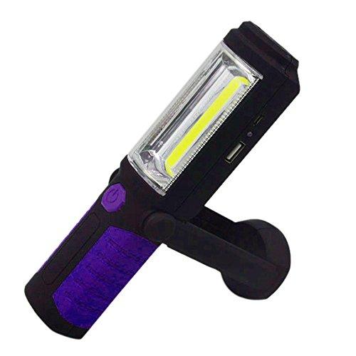 Forfar 1 Stück PFEILER LED magnetischer USB wiederaufladbar 360 ° Inspektionsarbeiten Licht Hand Taschenlampe Lampenhaken Blau