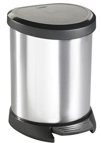 "Image of Curver 02160""Metallic's"" Abfallbehälter 5 Liter, metallic-silber"