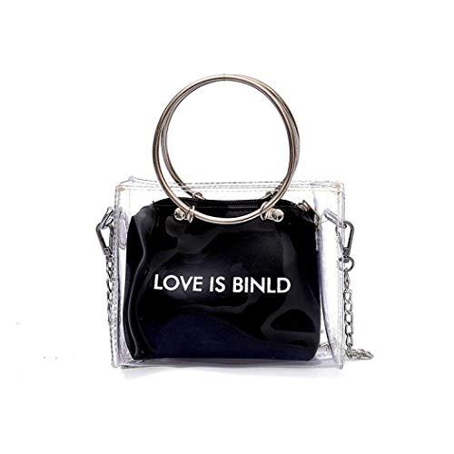 Morer Transparente Handtasche für Damen, klein, transparente Schultertasche, wasserdicht, PVC, transparent, Strandhandtasche mit verstellbarem Schulterriemen Gr. One size, Schwarz -