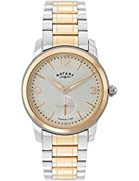 Rotary Men's Quartz Watch with White Dial Analogue Display and Rose Gold Plated Stainless Steel Bracelet GB02701/01