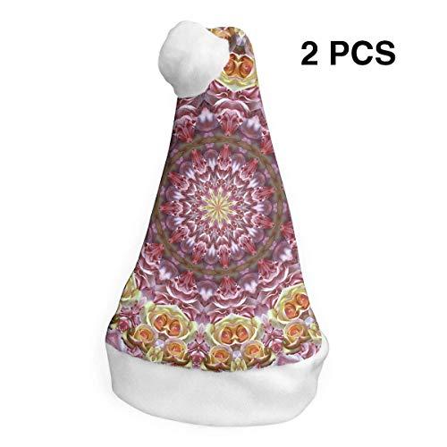 Weihnachtsmannmütze mit Rosen, Mandala, Kaleidoskop, Frohe Weihnachten, für Erwachsene und Kinder, Kostüm, Weihnachtsdekoration, Partyzubehör (2 Stück)