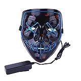 Alxcio Halloween Masken LED Light EL Wire Cosplay Maske, Purge Mask Für Festival Cosplay Halloween Kostüm Batterie Angetrieben, Blau