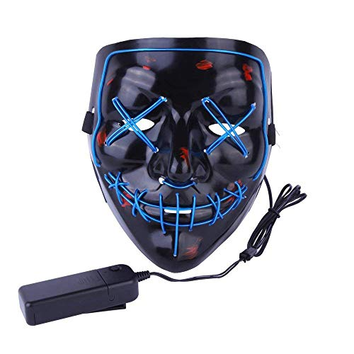 (Alxcio Halloween Masken LED Light EL Wire Cosplay Maske, Purge Mask Für Festival Cosplay Halloween Kostüm Batterie Angetrieben, Blau)