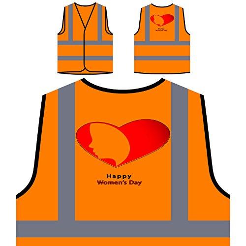 Der Tag der glücklichen Frauen am 8. März Neuheit-lustige Vintage Kunst Personalisierte High Visibility Orange Sicherheitsjacke Weste a155vo (Frauen 8. März)