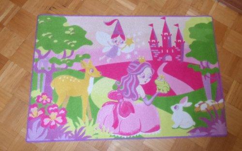 Associated Weavers Kinderteppich Teppich Kinderteppich Kinder Teppich Spielteppich Girl 09 Fairy Märchenwelt Märchenschloss Feenwelt Fee 80 x 120 cm ein muss für jeden Princess Prinzessinen Fan darf in keinem Kinderzimmer fehlen