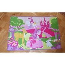 Associated Weavers alfombra alfombra Girl 09 hada rosa y diseño de castillo de cuento de hadas diseño de hadas de 80 x 120 cm pensada para hinchas de princesas Disney Princess Fan debe diseño de princesas Disney