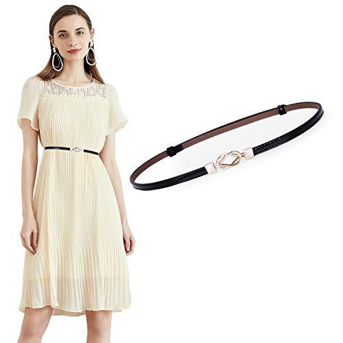 JasGood Damen Leder Slim Taillen Gürtel Einstellbar dünner Gürtel mit ineinandergreifender Schnalle für Kleid